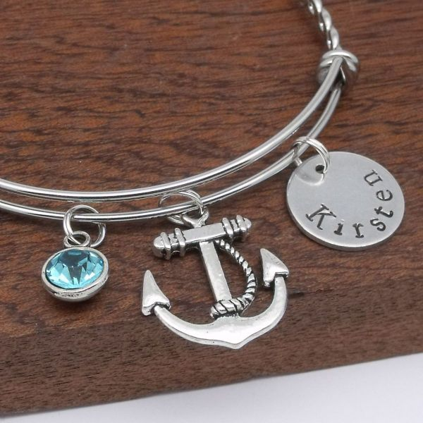 Anchor name charm bracelet personalised birthstone